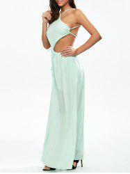 Chiffon Strappy Low Back Maxi Dress