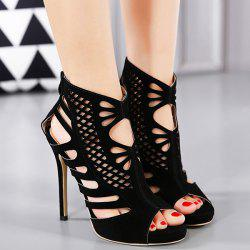 Stiletto Heel Hollow Out Peep Toe Shoes