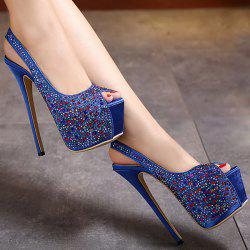 Rhinestone Embellished Satin Peep Toe Shoes