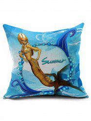 Mermaid Pattern Decorative Square Throw Pillowcase