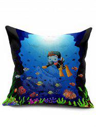 Cartoon Ocean World Sofa Decorative Throw Pillowcase