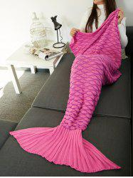 Super Soft Knitting Wave Stripe Mermaid Tail Design Blanket -