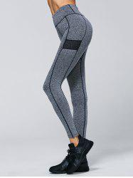 Contrast Trim Sporty Leggings - GRAY