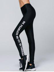 Letter Print Sporty Running Leggings - BLACK
