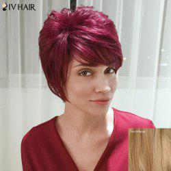 Siv Hair Short Layered Fluffy Side Bang Straight Human Hair Wig