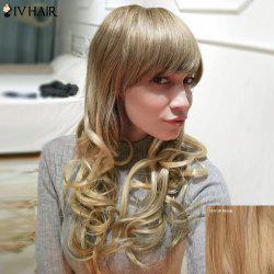 Siv Hair Long Layered Inclined Bang Wavy Human Hair Wig