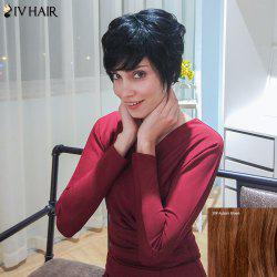 Siv Hair Short Oblique Bang Straight Layered Human Hair Wig