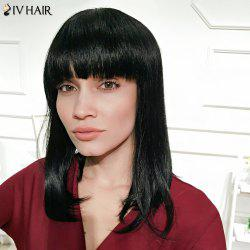 Siv Hair Medium Neat Bang Silky Straight Human Hair Wig