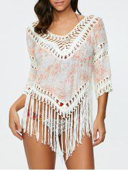 See-Through Crochet Fringe Tunic Cover Up -