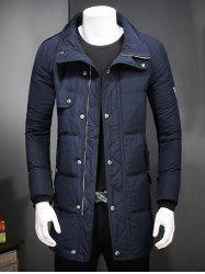 Slim Fit Zip Up Patch Quilted Coat