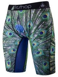 Feather Printing Skinny Cycling Shorts - GREEN