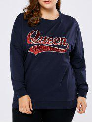Plus Size Queen Graphic Sequined Sweatshirt