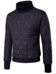 Turtle Neck Rib Panel Geometric Padded Sweatshirt