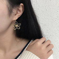 Flower Shape Pendant Hook Earrings