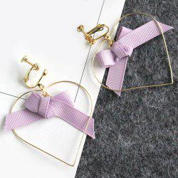 Hook Earrings with Bowknot Ribbon Hollow Heart