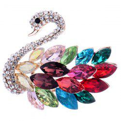 Rhinestone Faux Crystal Swan Shape Design Brooch