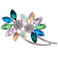 Faux Crystal Broken Flower Shape Design Brooch
