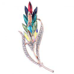 Colorful Faux Crystal Wheat Shape Design Brooch