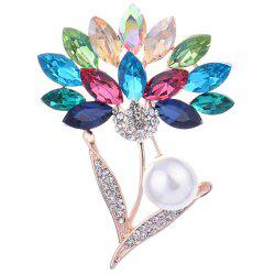 Faux Crystal and Pearl Flower Shape Design Brooch