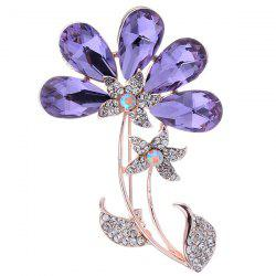 Faux Amethyst Flower Shape Design Brooch