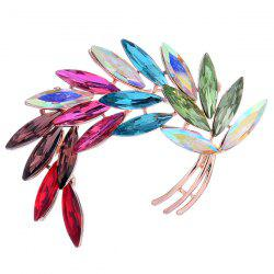 Colorful Faux Crystal Curved Leaf Shape Design Brooch