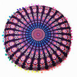 Bedroom Mandala Feather Print Pompon Round Floor Cushion Pillow Case