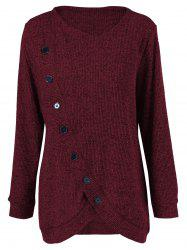 Plus Size Button Up Overlap Cardigan - DARK RED