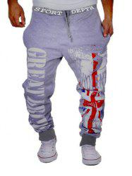 Contrast Trim Letter Printed Drawstring Jogger Pants