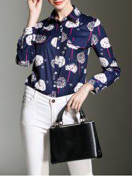 Printed Button Up Fitted Chiffon Shirt -