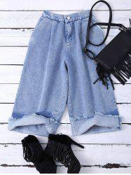 High Waist Ombre Wide Leg Jean Pant - BLUE