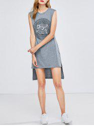 Printed High Low Casual Tank Tunic Tee Dress -