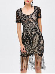 Mesh Insert Fringe Tight Vintage Flapper Dress