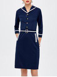 Sailor Knee Length Pencil Dress