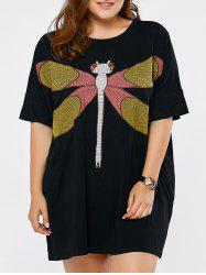 Plus Size Dragonfly Embroidered Short Dress