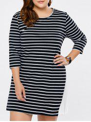 Plus Size Striped Pleated Panel Dress
