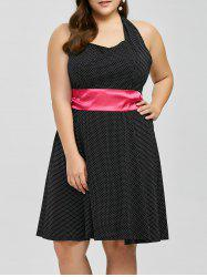 Plus Size Halter Polka Dot Pin Up Dress