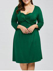 Plus Size Criss Cross Knee Length Dress