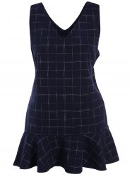 Drop Waist Ruffle Plaid Sleeveless Dress