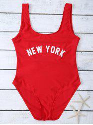 High Cut Letter Unlined One Piece Swimsuit -