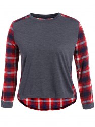 Plus Size Plaid Panel High Low T-Shirt