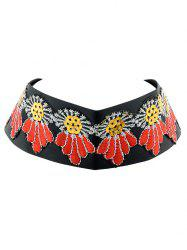 Embroidered Wide Choker Necklace