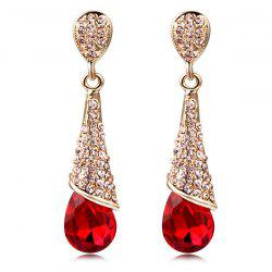 Rhinestoned Teardrop Fake Crystal Earrings - RED