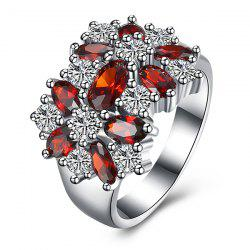 Rhinestone Artificial Ruby Flower Ring
