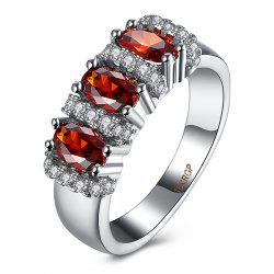 Rhinestone Circle Artificial Ruby Ring - RED
