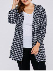 Plus Size Hooded Letter Print Plaid Blouse