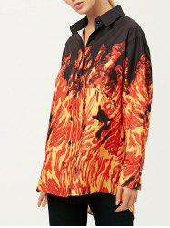 Oversized Shirt With Fire Print