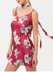 Floral Cami Mini Satin Slip Short Dress With Choker