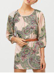 Lantern Sleeve Paisley Pattern Belted Dress