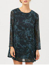 Floral Jacquard Long Sleeve Tunic Dress
