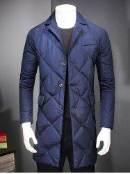Revere Collar Button Up Diamond Padded Quilted Coat